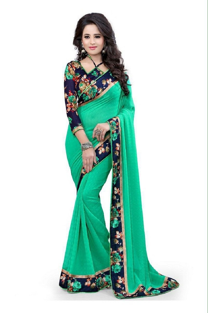Buy Pushty Fashion Light Green Lace Work Dani Saree Z-241 online