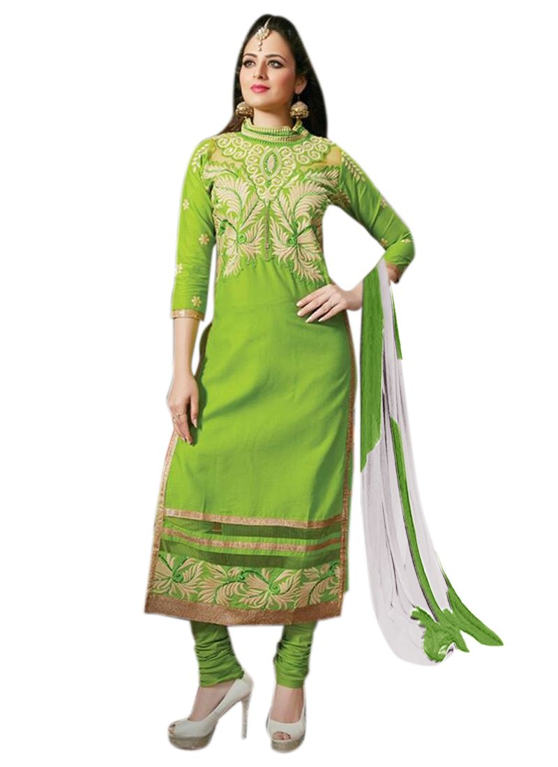 Buy Pushty Fashion Green Embroidered Straight Dress Material Adn-pe1-33 online