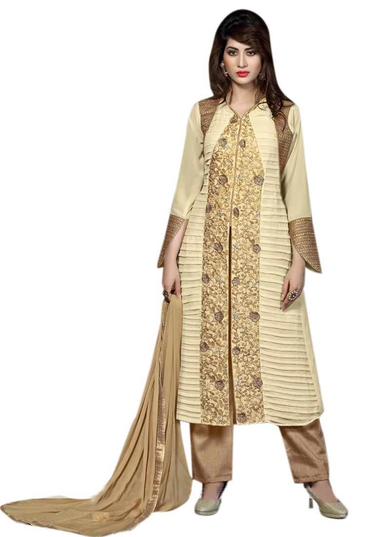 Buy Pushty Fashion Beige Embroidered Cotton Dress Material Adn-pe1-34 online