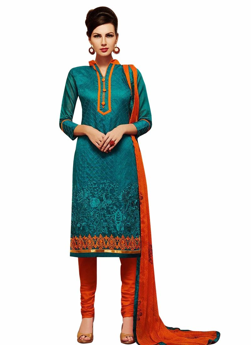 Buy Pushty Fashion Moss Green And Orange Embroidered Chanderi Cotton Semistitched Salwar Kameez Mns-204 online