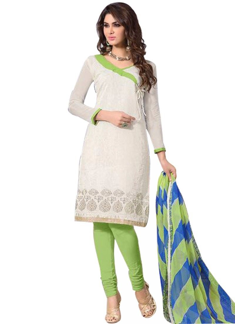 Buy Pushty Fashion White And Green Embroidered Chanderi Cotton Semistitched Salwar Kameez Mns-205 online