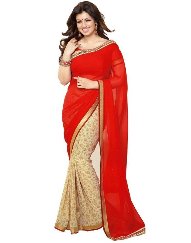 Buy Creative Fashion Ayesha Takia Bollywood Replica Red Printed Saree online
