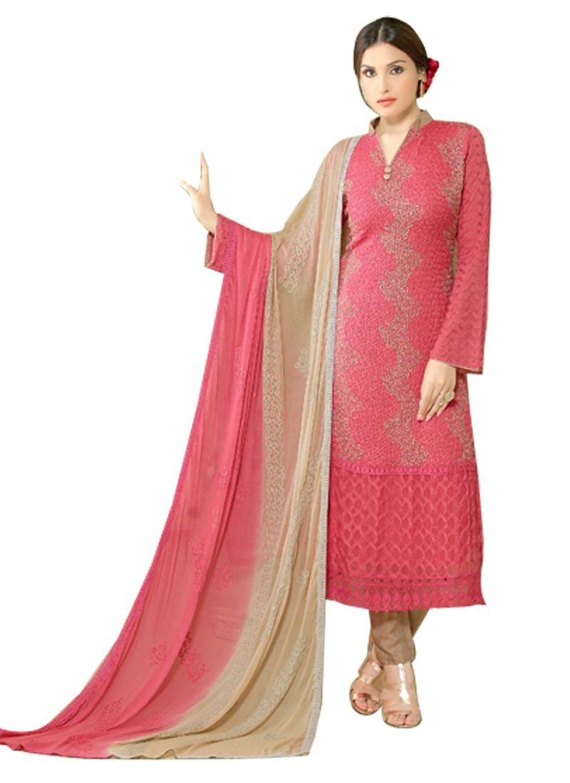 Buy Pushty Fashion Pink Colour Other Georgette Semistitched Dress Materials Pf16-2148 online