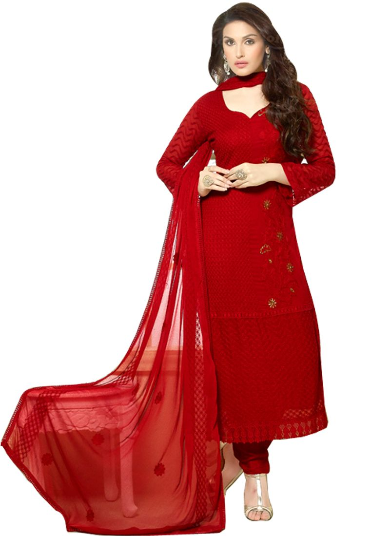 Buy Pushty Fashion Red colour other georgette Semistitched Dress Materials online