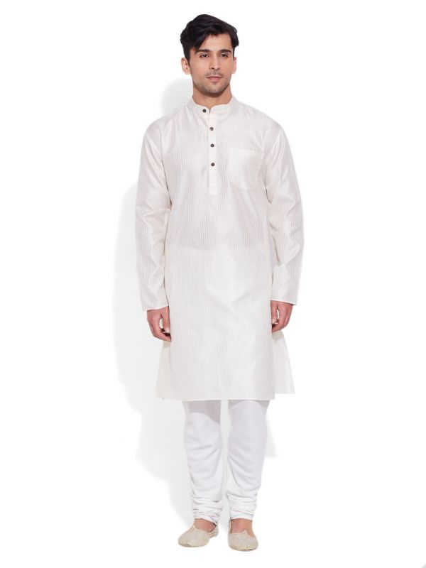 Buy Very Me Ivory Faux Silk Long Kurta For Men - (product Code - M-flk-1404) online