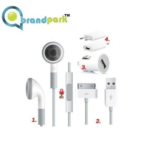 Buy Brandpark Wall Charger,car Charger,earpods & USB Lightning Data Cable For I online