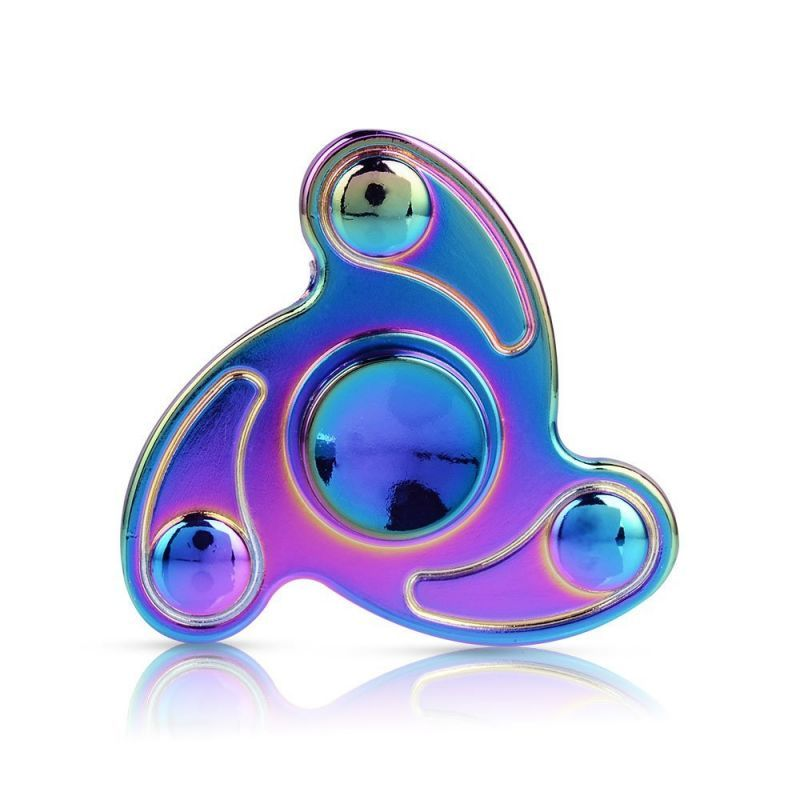 Buy Fidget Spinner Toy, Rainbow Hand Tri Finger Spinner Metal Stainless Steel Bearing Spinner,for Add, Adhd, Anxiety,and Edc LED Figit Spinner online
