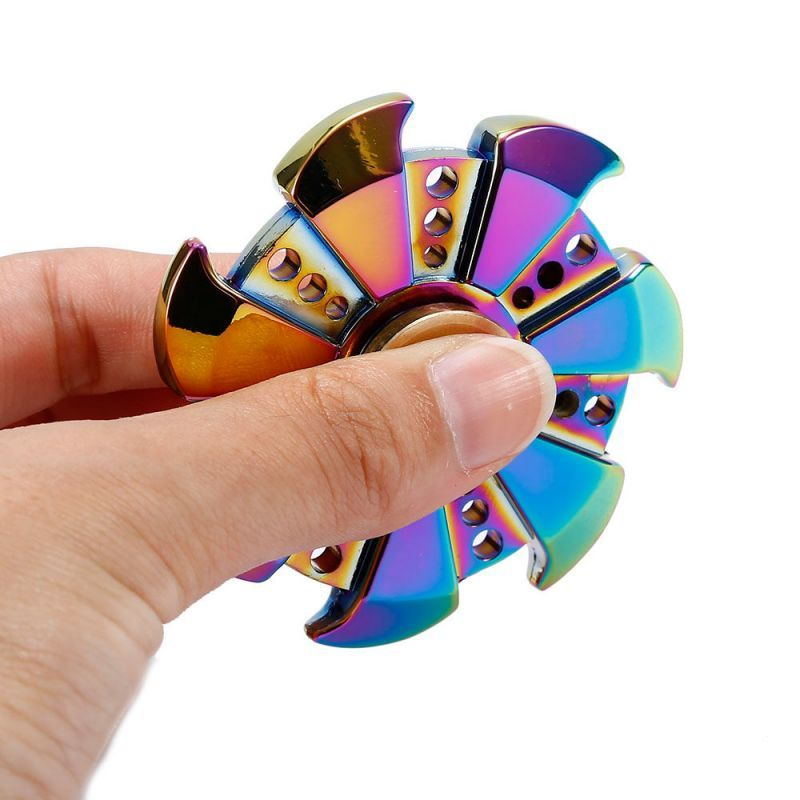 Buy Rainbow Edc Hand Spinner Tri Fidget Focus Alloy Desk Toys Focus Stress Toys online