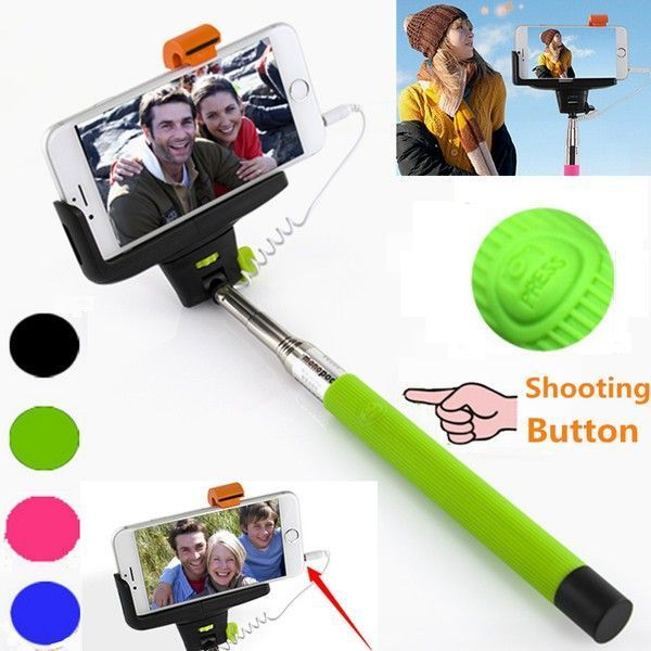 Buy Pocket Monopod Selfie Stick With Aux Cable Supports All Android Phones And Iphones online