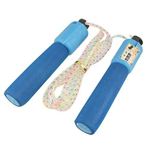 Buy Blue Foam Wrapped Handle Counting Counter Jumping Skipping Rope 8.5 Ft online