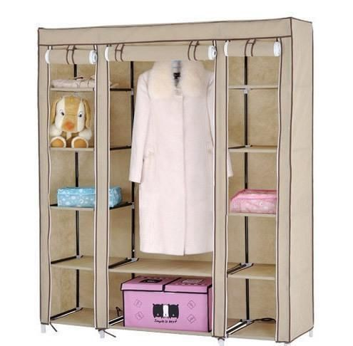 Buy Home Basics 3 Door Brown Foldable Almirah Wardrobe Cupboard online
