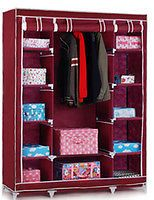 Buy Home Basics 3 Door Maroon Foldable Wardrobe Almirah Cupboard online