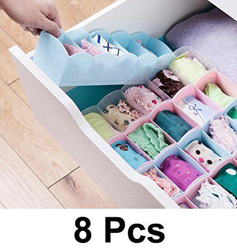 Buy Unique Cartz 8 PCs Undergarments Innerwear Drawer Organiser Partition Box (multicolor) online
