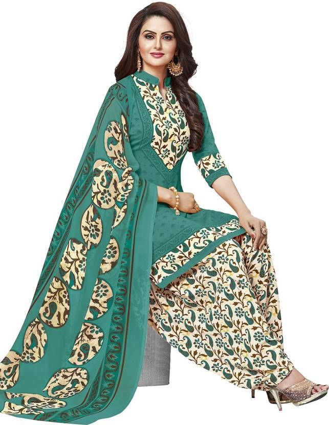Buy Green printed crepe unstitched salwar with Chiffon dupatta online