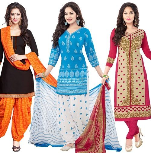 Buy Pack of Three Crepe  Salwar Suit with Chffion Dupatta Material Un-stitched online
