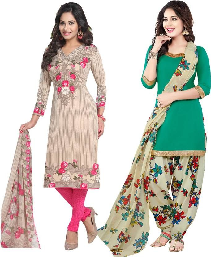 Buy Elegant Crepe Designer Printed Pack of Two Unstitched Dress Material Suit.No online