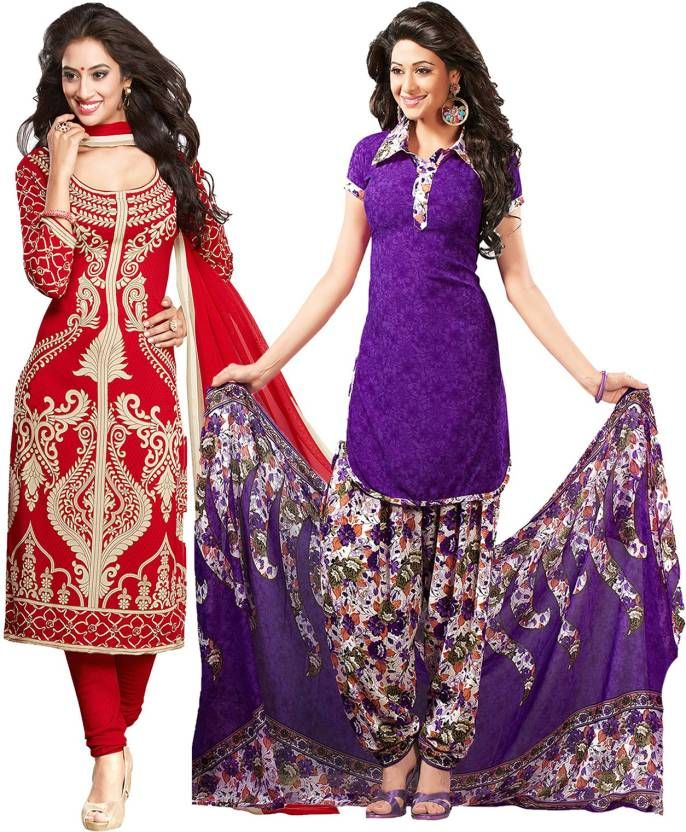 Buy Elegant Crepe Designer Printed  Pack of Two Unstitched Dress Material Suit. online