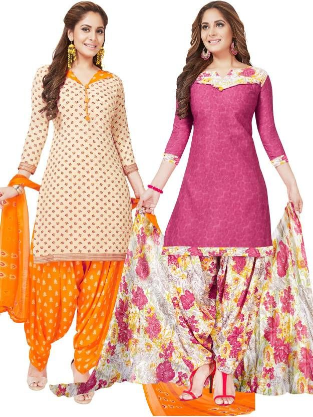 Buy Pack of Two Crepe  Salwar Suit with Chffion Dupatta Material Un-stitched online