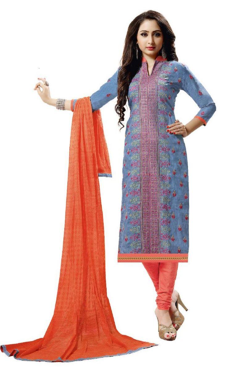 5302296ff1 Buy Radiant Cotton Embroidered Salwar Suit Dress Material with Chiffon  Dupatta online