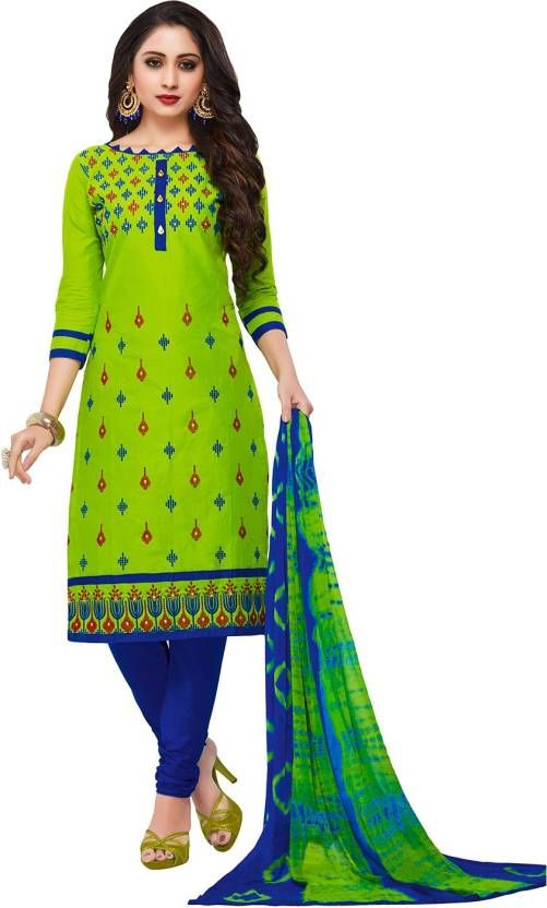 3201a19431 Buy Radiant Cotton Embroidered Salwar Suit Dress Material With Chiffon  Dupatta online