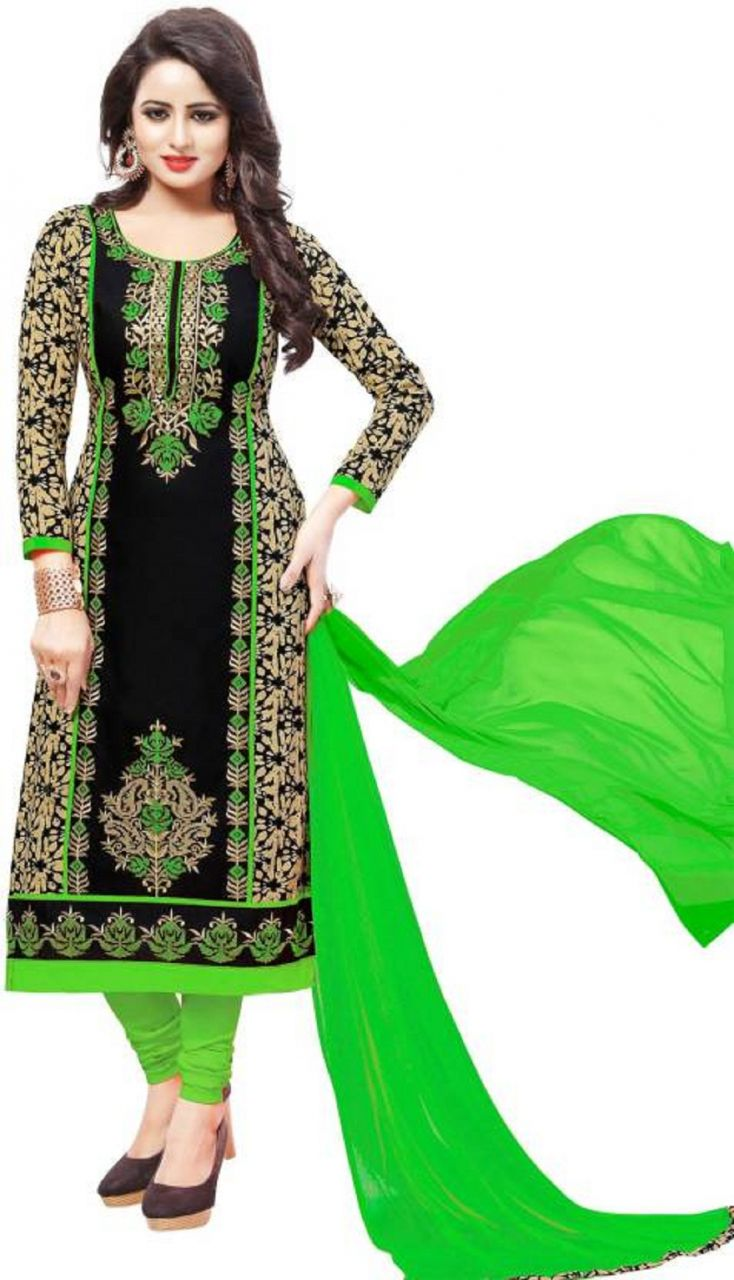 f02462d9b4 Buy Radiant Cotton Embroidered Salwar Suit Dress Material with Chiffon  Dupatta online