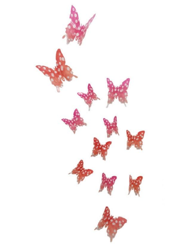 Buy Hd-001 Dotted Light Pink And Orange Butterfly Wall Sticker By Jaamso Royals online