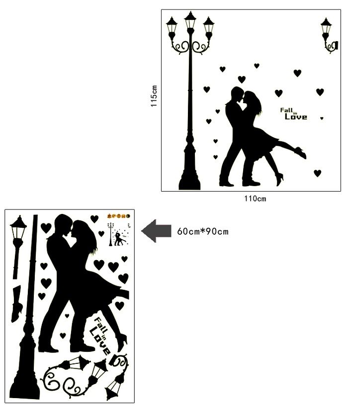 buy radium dancing couple tower glow in dark wall sticker (60 cm x