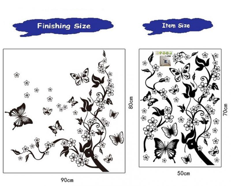 Buy Dynamite Black Butterflies Wall Sticker (50 Cm X 70 Cm) online