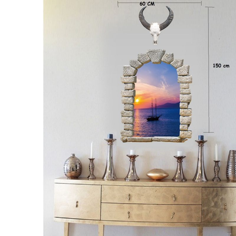Buy Sacred Cow Sea Evening Scenery 3d Fake Window Wall Sticker (60 Cm X 90 Cm) online