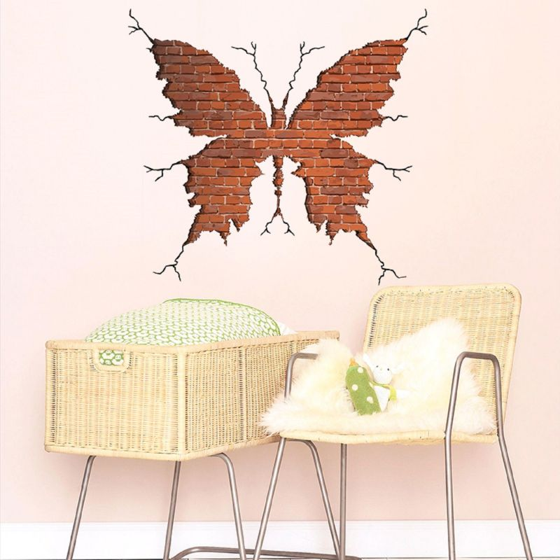Buy Break Wall Bricks 3d Butterfly Wall Sticker (60 Cm X 60 Cm) online