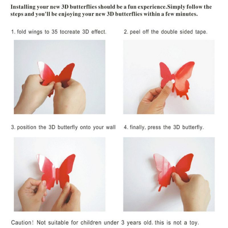 Buy Red 3d Butterflies Wall Sticker (13 Cm X 15 Cm) online