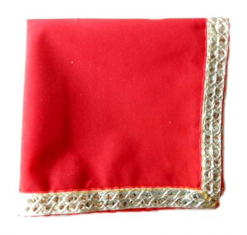 Buy Pooja Chowki Red Velvet Asan/choki Kapda For Pooja online