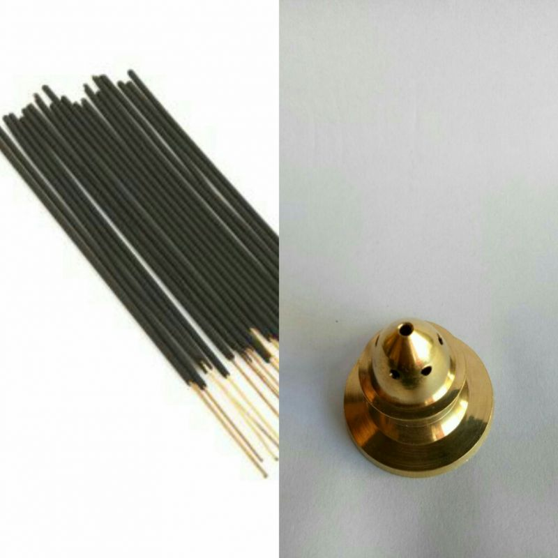 Buy Zed Black Guggal Incense Stick Set Of 3 Zipper With Brass Agarbatti Stand online