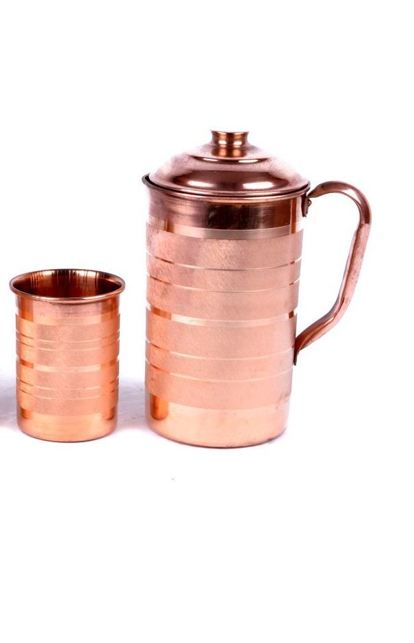 Buy Luxary Copper Jug / Embossed Copper Jug / Copper Jug For Healthy Water With Copper Glass online