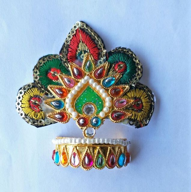 Buy Thread And Moti Work Design Mukut For Thakurji / Mukut Shringar For Bal Gopal online