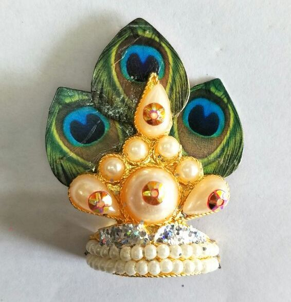 Buy Morpankh And Moti Work Design Mukut For Laddu Gopal / Shringar For Thakurji online