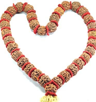 Buy Natural  Original 5 Mukhi Rudraksha Kantha Mala Big Beads online