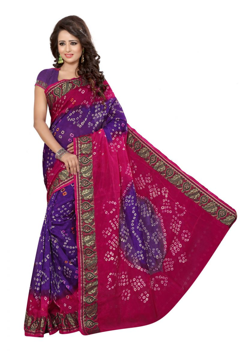 Buy Nirja Creation Pink And Wine Color Art Silk Bandhani Saree Nc1041ssd online