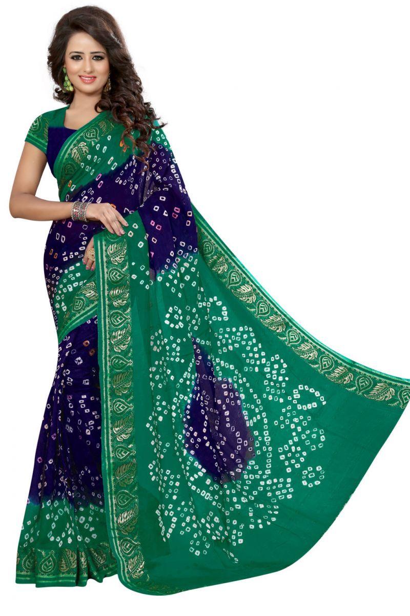 Buy Nirja Creation Green And Blue Color Art Silk Bandhani Saree Nc1046ssd online