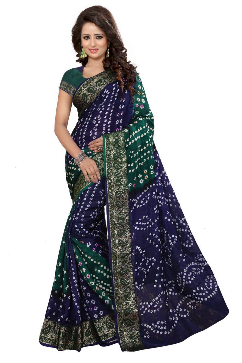 Buy Nirja Creation Green Color Art Silk Bandhani Saree Nc1061ssd online