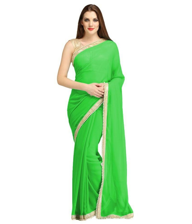 Buy Nirja Creation Green Georgette Fancy Saree online