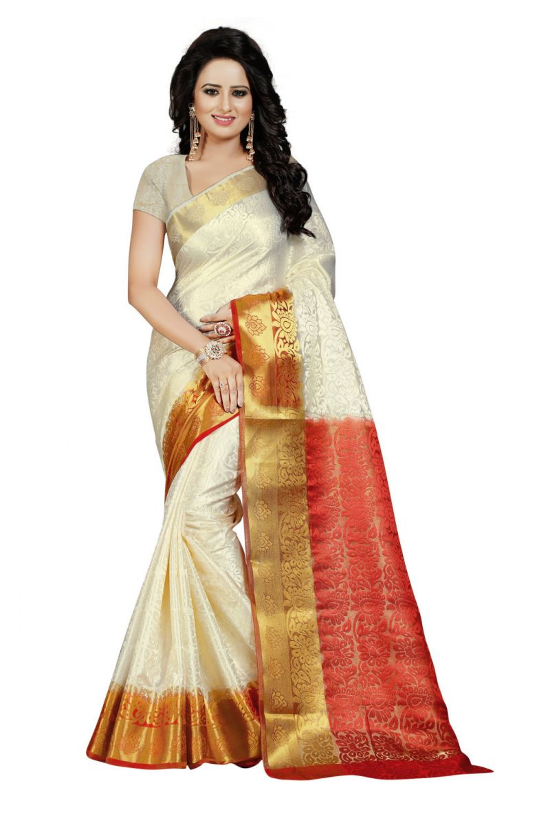 Buy Nirja Creation White Color Banarasi Cotton Fancy Saree online