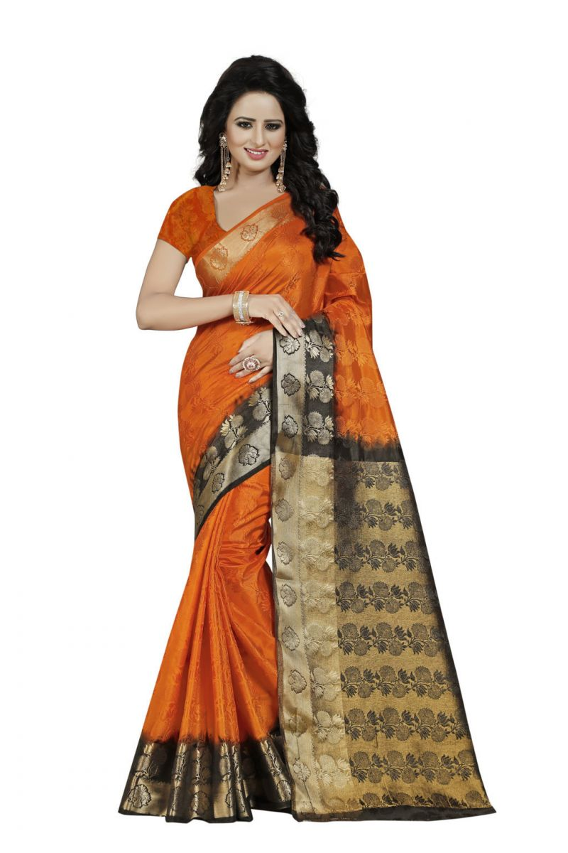 Buy Nirja Creation Orange Color Banarasi Cotton Fancy Saree online