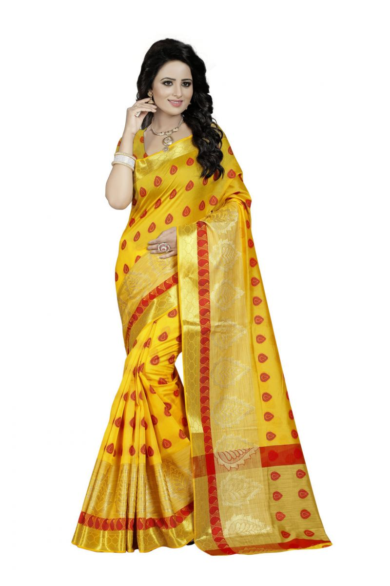 Buy Nirja Creation Yellow Color Banarasi Cotton Fancy Saree online