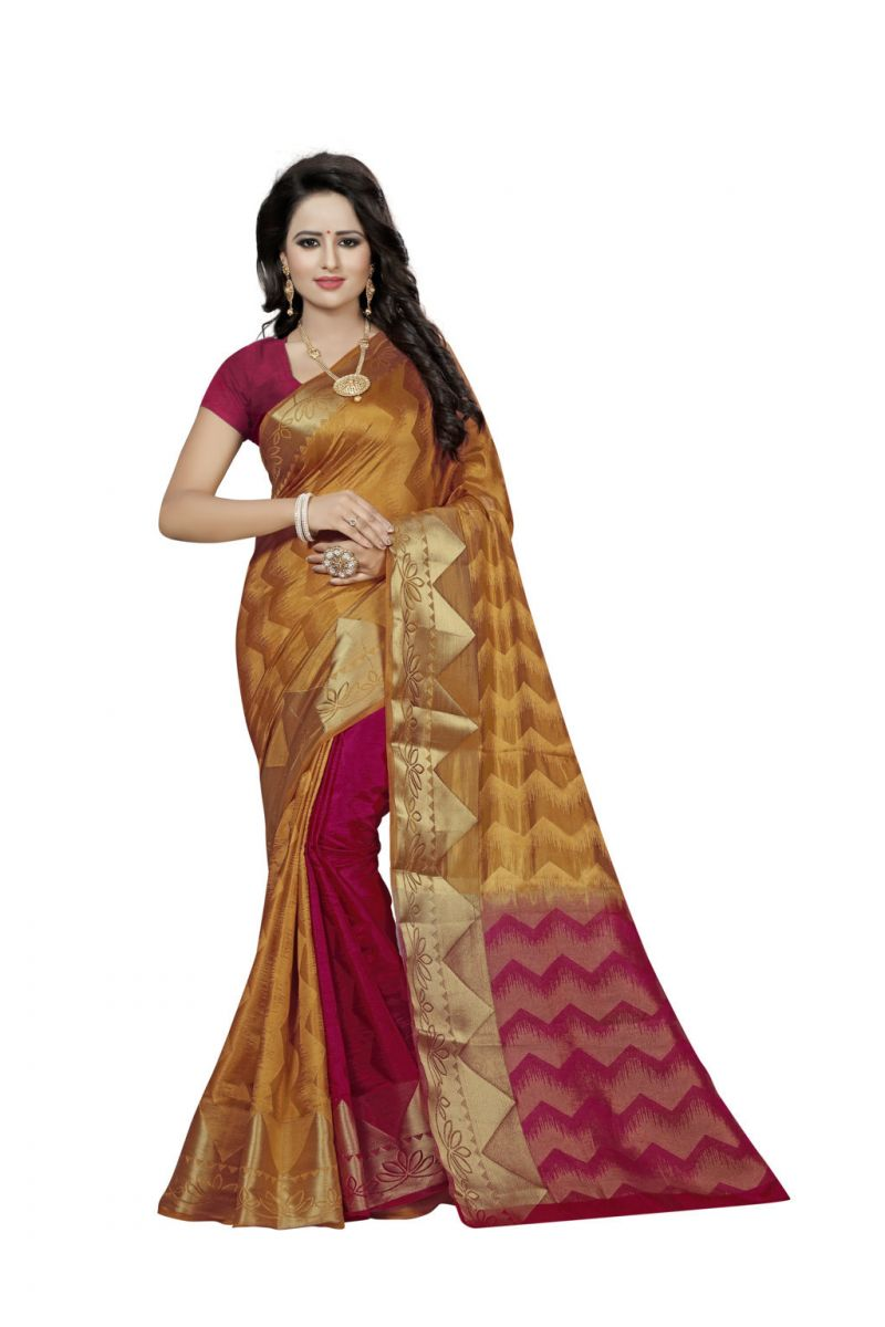 Buy Nirja Creation Gold Color Banarasi Cotton Fancy Saree online