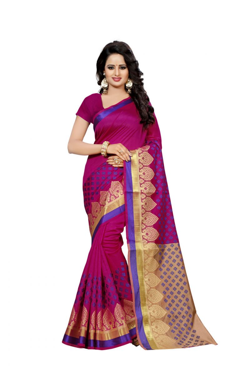 Buy Nirja Creation Maroon Color Banarasi Cotton Fancy Saree online