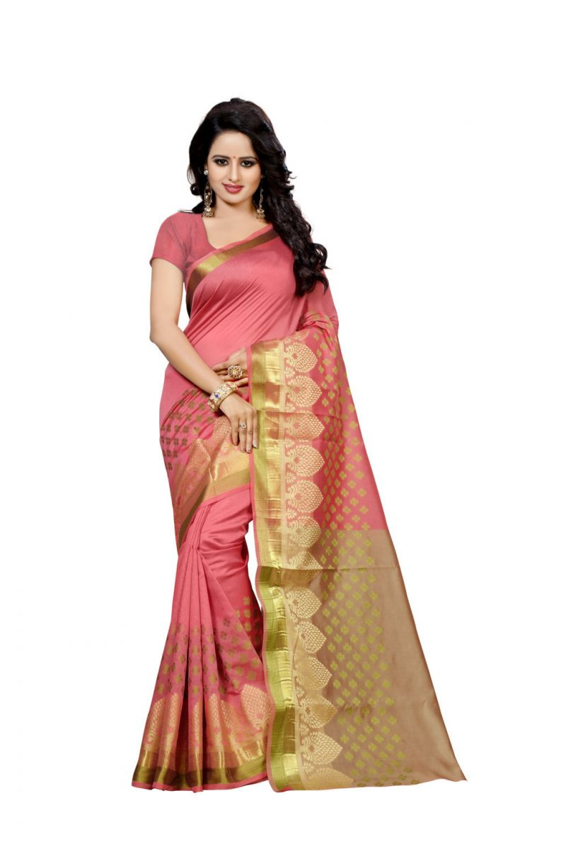 Buy Nirja Creation Peach Color Banarasi Cotton Fancy Saree online