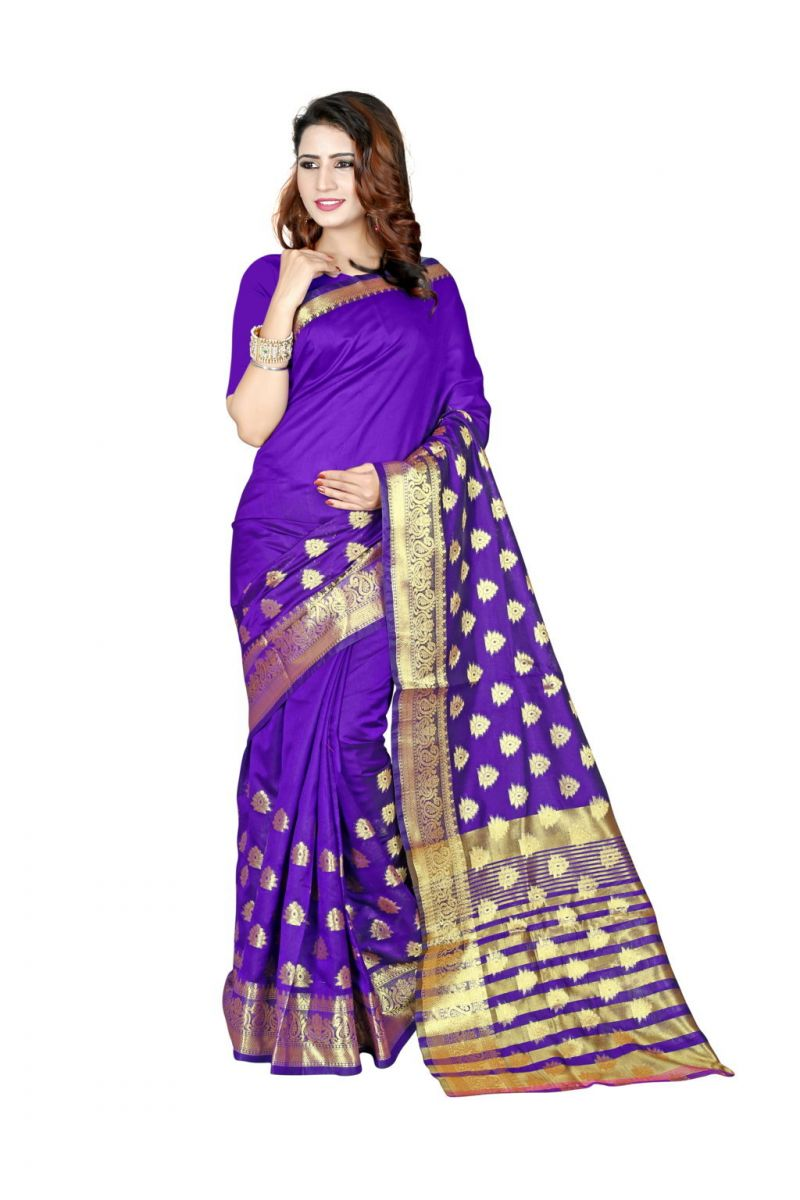 Buy Nirja Creation Purple Color Banarasi Cotton Fancy Saree online