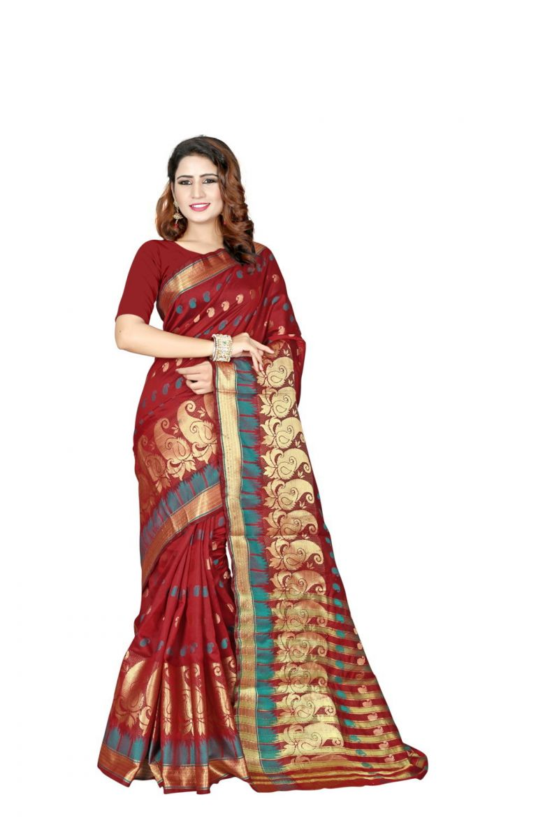 Buy Nirja Creation Red Color Banarasi Cotton Fancy Saree online