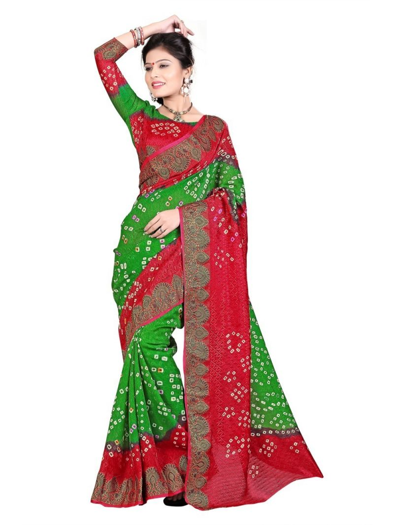 Buy Nirja Creation Green Color Art Silk Bandhani Saree Nc-016ssd online